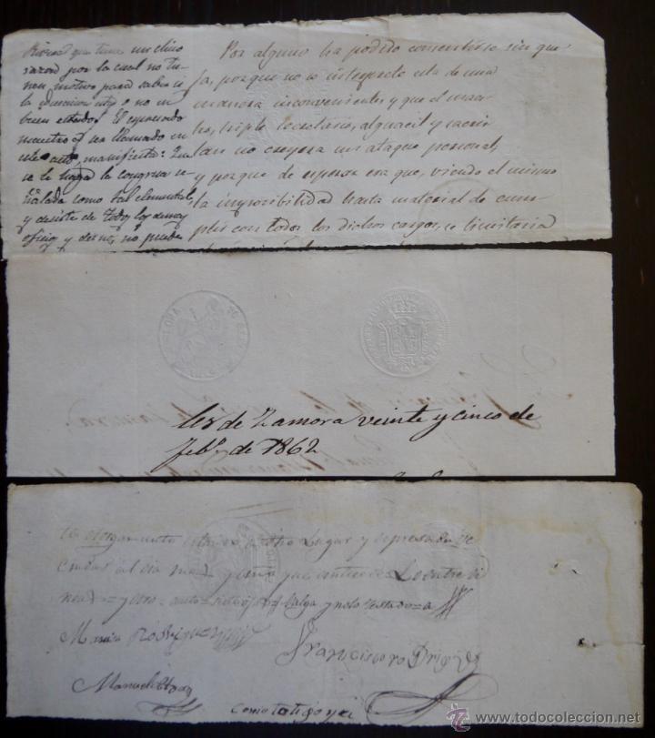 Sellos: TRES SELLOS CLASICOS FISCALES 1860, 1862 Y 1865. ANTIGUOS SELLOS FISCALES TIMBROLOGIA FILATELIA FISC - Foto 2 - 51388050