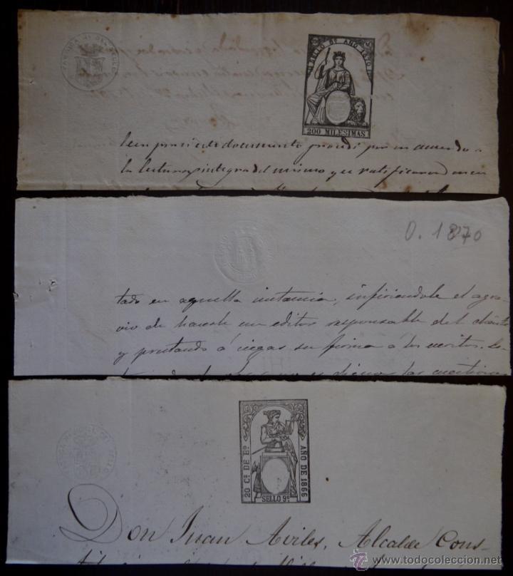 SELLOS CLASICOS FISCALES 1866, 1870 Y 1870. ANTIGUOS SELLOS FISCALES TIMBROLOGIA FILATELIA FISC (Sellos - España - Isabel II de 1.850 a 1.869 - Usados)