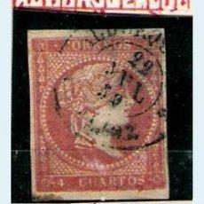 Sellos: ISABEL II - EMISION 1856 - 4 CU.(TIPO II) FECHADOR TIPO II DE ALBURQUERQUE (BADAJOZ). EDIFIL Nº 48 A. Lote 32378404