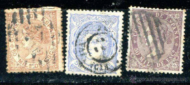 3 SELLOS DIFERENTES DE ISABEL II, 50 MILÉSIMAS DE ESCUDO. MATASELLADOS. AÑOS 1867, 1868 Y 1870 (Sellos - España - Isabel II de 1.850 a 1.869 - Usados)
