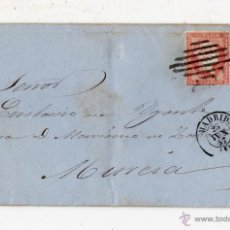 Sellos: CARTA COMPLETA CON SELLO DE ISABEL II. 4 CUARTOS. FRANQUEADA EL 25 DE JUNIO DE 1857. MADRID - MURCIA. Lote 51721805