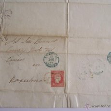 Sellos: 1856 CARTA DE LA BISBAL GIRONA A BARCELONA * SELLO ISABEL II 4 CUARTOS. Lote 51770093