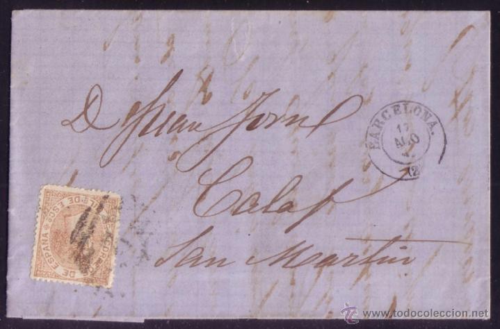 ESPAÑA.BARCELONA.REVOLUCIÓN DE 1868(LA GLORIOSA).1867(17 AGO).PRIMERAS REVUELTAS. PIEZA EXCEPCIONAL. (Sellos - España - Isabel II de 1.850 a 1.869 - Cartas)