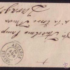 Sellos: ESPAÑA. (CAT. 64). 1864. CUBIERTA DE ALCAÑIZ A ZARAGOZA. 4 CTOS. MAT. * ALCAÑIZ/TERUEL *. MAGNÍFICA.. Lote 51963494