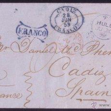 Sellos: REINO UNIDO/ESPAÑA. 1859. CARTA DE HULL A CÁDIZ. DOS MARCAS DE FRANQUICIA DE CÁDIZ. MUY RARA. LUJO.. Lote 52627732