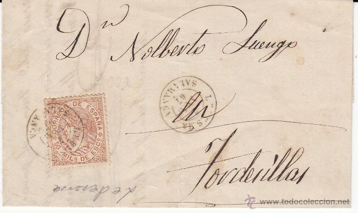 CARTA CON SELLO 50 MIL. DE ISABEL II DE LEDESMA -SALAMANCA- A TORDESILLAS 1867 (Sellos - España - Isabel II de 1.850 a 1.869 - Cartas)