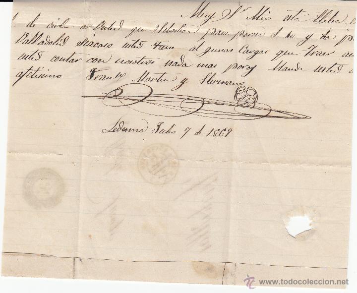 Sellos: CARTA CON SELLO 50 MIL. DE ISABEL II DE LEDESMA -SALAMANCA- A TORDESILLAS 1867 - Foto 2 - 53438495