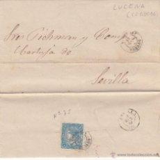 Sellos: CARTA DE JOAQUIN GUIX CON SELLO 4 CUARTOS ISABEL II DESDE LUCENA-CÓRDOBA- A SEVILLA 1865. Lote 53440025