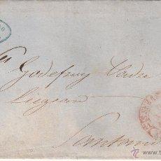 Sellos: CARTA DE FRANCISCO REYNO DE SAN SEBASTIAN CON SELLO DE 6 CU.ISABEL II 1852 PARRILLA Y BAEZA. Lote 53440246