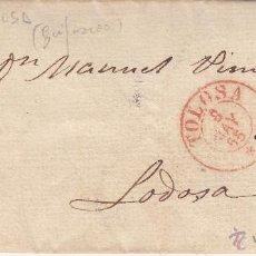 Sellos: CARTA CON SELLO 4 CUARTOS DE ISABEL II DE TOLOSA-GUIPÚZCOA- 1855. Lote 53440582