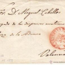 Sellos: SOBRE MODERNO CON MATASELLOS DE JATIVA-VALENCIA- 1852 ----SIN SELLO---- EJEMPLAR RARO----. Lote 53440803