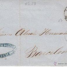 Sellos: CARTA DE VDA. DE BURGOS E IBARRA DE ALMERÍA CON SELLO DE ISABEL II Y MATASELLOS RUEDA CARRETA 1863. Lote 53454662