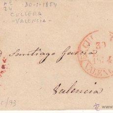 Sellos: ENVUELTA DE CULLERA - VALENCIA- CON MATASELLOS DE PARRILLA Y BAEZA EN ROJO 1854. Lote 53454968