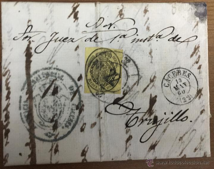 18 CARTAS CON SELLOS DE ISABEL II - CÁCERES - TRUJILLO - VILLAMESÍAS (Sellos - España - Isabel II de 1.850 a 1.869 - Cartas)