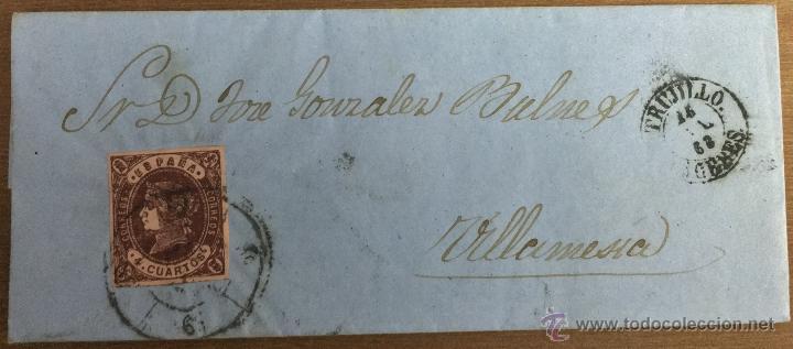 Sellos: 18 CARTAS CON SELLOS DE ISABEL II - CÁCERES - TRUJILLO - VILLAMESÍAS - Foto 11 - 53568825