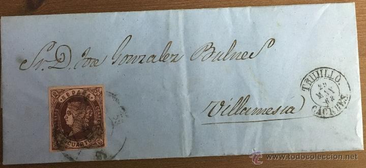 Sellos: 18 CARTAS CON SELLOS DE ISABEL II - CÁCERES - TRUJILLO - VILLAMESÍAS - Foto 12 - 53568825