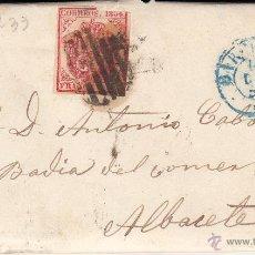 Sellos: ENVUELTA CARTA ENTERA NUM. 33 DE BARCELONA A ALBACETE 1854 -PARRILLA Y FECHADOR AZUL. Lote 53578940