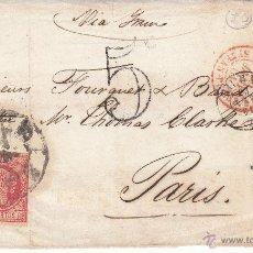 Sellos: FRONTAL CARTA 12 CUARTOS NUM.48 1864 DESTINO FRANCIA-MATASELLOS FRANCESES ,CARRETA Y FECHADOR BILBAO. Lote 53592913