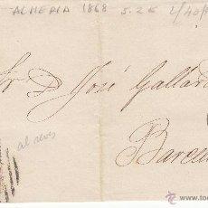 Sellos: ENVUELTA NUM. 96 1868 DE ALMERÍA A BARCELONA ----PARRILLA CON CIFRA Y FECHADOR----. Lote 53592991