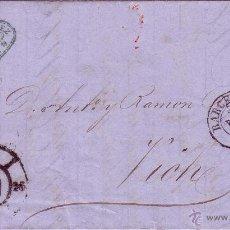 Selos: HP5-8- CARTA COMPLETA BARCELONA -VICH CON EDIFIL 48C. 1860. ETIQUETA CIERRE. VARIEDAD IMPRESION. Lote 53670371