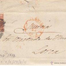 Sellos: CARTA COMPLETA CON SELLO NUM. 12 DE MADRID AL VIZCONDE DE .... EN LORCA -1852--PARRILLA Y BAEZA ROJO. Lote 53991861