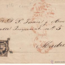 Sellos: ENVUELTA CON SELLO SEIS CUARTOS DE 1851- NUM. 6 DE CADIZ A MADRID. Lote 54010863