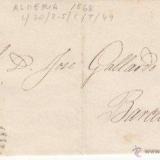 Sellos: ENVUELTA CON NUM.96 DE ALMERÍA A BARCELONA- PARRILLA CON NUM. Y FECHADOR ---1868----. Lote 54054492
