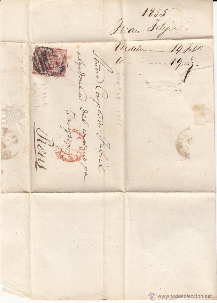 Sellos: CARTA ENTERA DE TUDELA A REUS--1855-- CON PARRILLA NEGRA Y FECHADOR ROJO - Foto 2 - 54055111