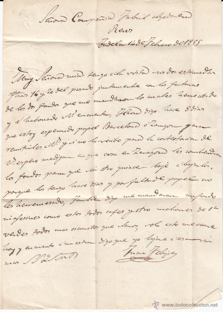 Sellos: CARTA ENTERA DE TUDELA A REUS--1855-- CON PARRILLA NEGRA Y FECHADOR ROJO - Foto 3 - 54055111