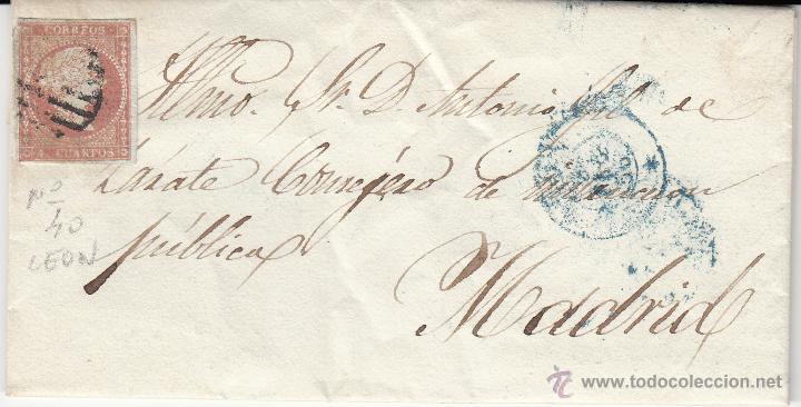 CARTA ENTERA SELLO NUM. 40DE INSPEC.PROV.INSPECCION PRIMARIA DE LEÓN A MADRID --1856--- (Sellos - España - Isabel II de 1.850 a 1.869 - Cartas)