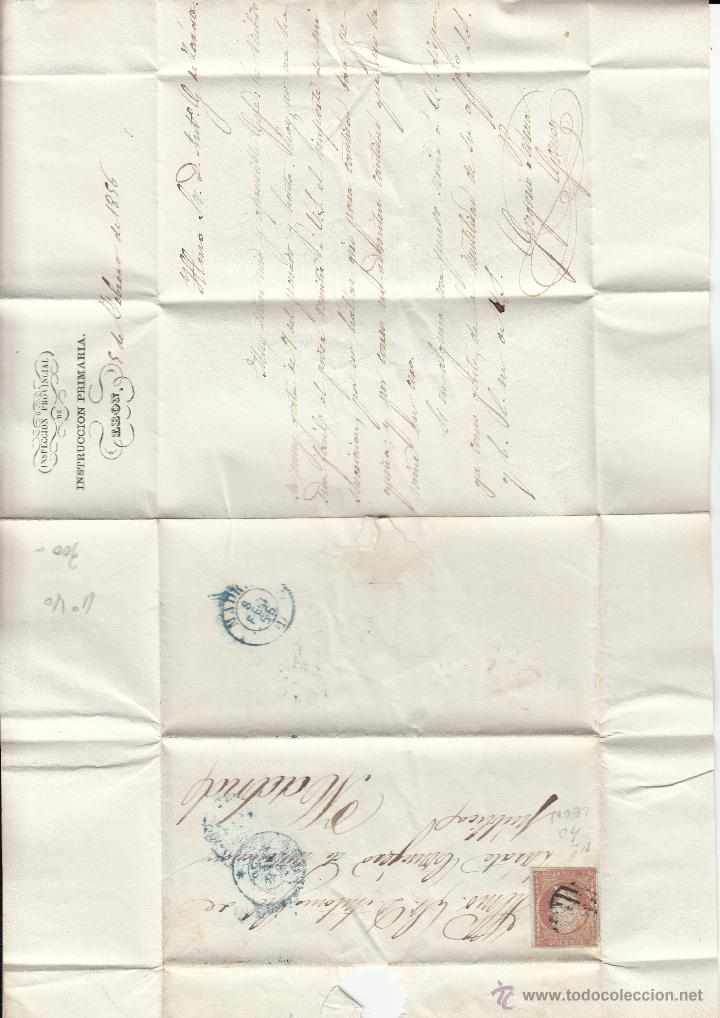 Sellos: CARTA ENTERA SELLO NUM. 40DE INSPEC.PROV.INSPECCION PRIMARIA DE LEÓN A MADRID --1856--- - Foto 2 - 54413971