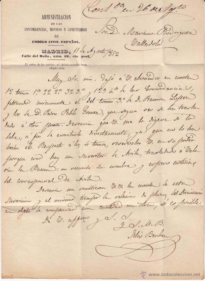 Sellos: CARTA ENTERA CON SELLO NUM.12 DE ADM.CODIGO CIVIL DE MADRID A VALLADOLID -1852- - Foto 2 - 54414069