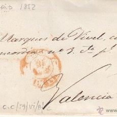 Sellos: CARTA ENTERA CON SELLO NUM. 12 DE MADRID A VALENCIA DEL CID--1852---VER FOTOS ADICIONALES. Lote 54414356