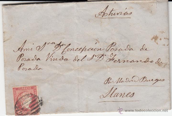 CARTA ENTERA DE SEVILLA A LLANES-ASTURIAS- --1857--- (Sellos - España - Isabel II de 1.850 a 1.869 - Cartas)