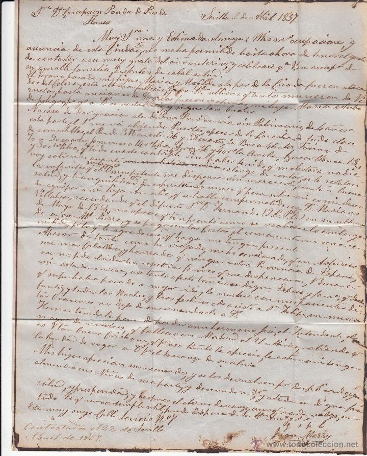 Sellos: CARTA ENTERA DE SEVILLA A LLANES-ASTURIAS- --1857--- - Foto 2 - 54414686