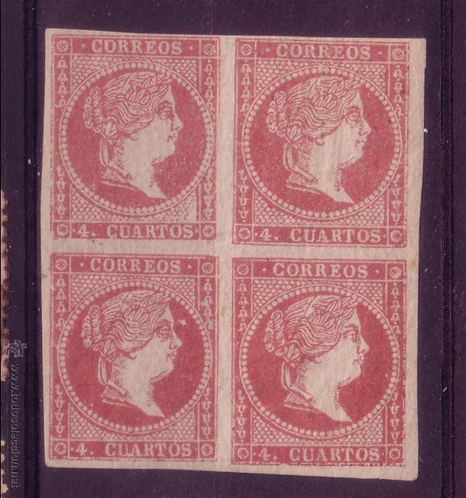 DD4-CLASICOS EDIFIL 48C. BLOQUE DE 4 NUEVO**. VARIEDADES IMPRESIÓN (Sellos - España - Isabel II de 1.850 a 1.869 - Nuevos)
