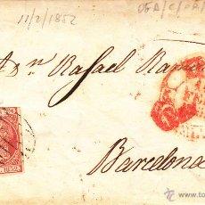 Sellos: CARTA COMPLETA CON SELLO NUM. 12 DE REUS A BARCELONA --1852-- CON PARRILLA,BAEZA Y MARCA DE 6RS.. Lote 54843555
