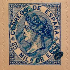 Sellos: SPAIN ESPAÑA 25 MILESIMAS DE ESCUDO 1868 ISABEL II SELLO STAMP NUEVO. Lote 94860823