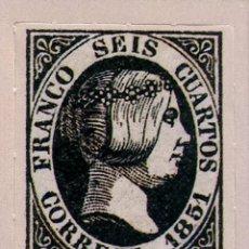 Sellos: SPAIN ESPAÑA 6 CUARTOS 1851 ISABEL II REPUBLICA SELLO STAMP NUEVO. Lote 54926078
