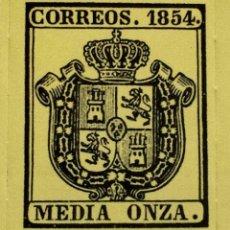Sellos: SPAIN ESPAÑA MEDIA ONZA 1854 ESCUDO DE ESPAÑA SELLO STAMP NUEVO. Lote 54926293