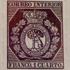 Sellos: SPAIN ESPAÑA 1 CUARTO 1853 ESCUDO DE MADRID OSO Y MADROÑO SELLO STAMP NUEVO. Lote 54926543