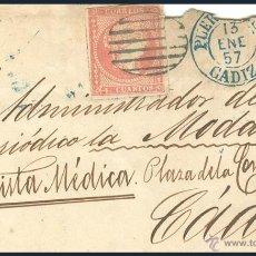 Sellos: CARTA CON SELLO ISABEL II (CUATRO CUARTOS).......1857. Lote 55016411