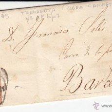 Sellos: CARTA COMPLETA CON SELLO NUM. 48 DE TARRAGONA A BARCELONA --1859---RUEDA DE CARRETA Y FECHADOR. Lote 55084793