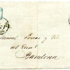 Sellos: CARTA DE ROSAS A BARCELONA, 1869, CON EDIFIL 98 Y FECHADOR DE CASTELLÓN DE AMPURIAS. Lote 55143132