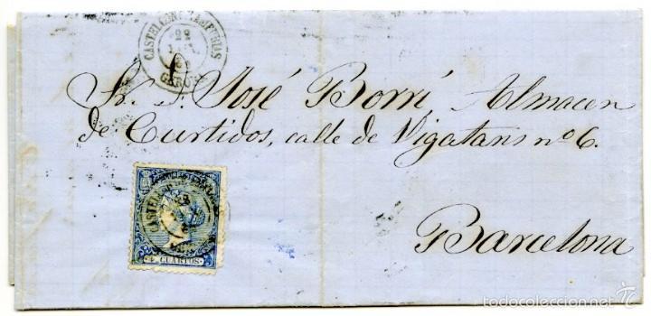 CARTA DE ROSAS A BARCELONA, 1866, 4 CUARTOS AZUL, FECHADOR CASTELLÓ D'AMPÚRIES (Sellos - España - Isabel II de 1.850 a 1.869 - Cartas)
