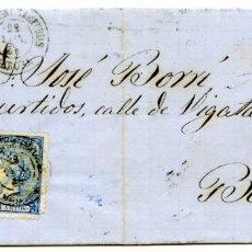 Sellos: CARTA DE ROSAS A BARCELONA, 1866, 4 CUARTOS AZUL, FECHADOR CASTELLÓ D'AMPÚRIES. Lote 55143389