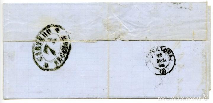 Sellos: Carta de Rosas a Barcelona, 1866, 4 cuartos azul, fechador Castelló dAmpúries - Foto 2 - 55143389