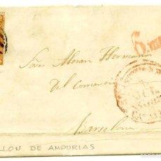 Sellos: CARTA DE ROSAS A BARCELONA VÍA CASTELLÓ DE AMPÚRIES, 1852.. Lote 55143550