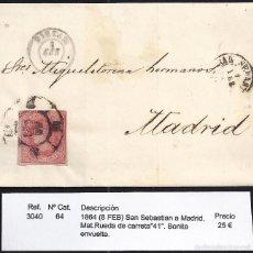 Sellos: 1864 SAN SEBASTIÁN A MADRID. Lote 55170587