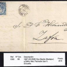 Sellos: 1867 DON BENITO A ZAFRA. Lote 55313412